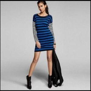 Express Zipper Mixed Stripe Sweater Dress M